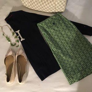 J. Crew Green & Navy Tile Printed Women's Skirt 14